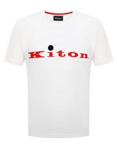 Хлопковая белая футболка Kiton