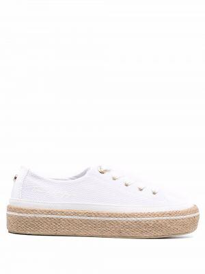 Кружевные белые хлопковые кроссовки Tommy Hilfiger