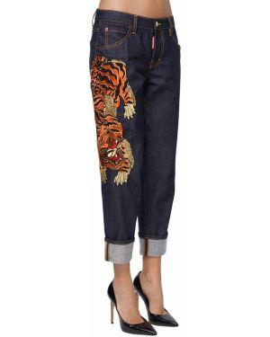 Укороченные джинсы с манжетами с вышивкой Dsquared2