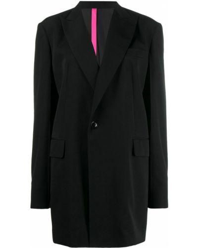 Однобортное шерстяное черное длинное пальто Y's