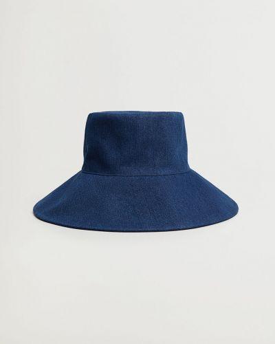 Niebieska czapka bawełniana Mango