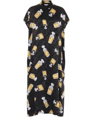 Платье миди шелковое черное Balenciaga