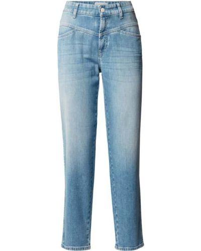 Niebieskie jeansy z wysokim stanem bawełniane Cambio