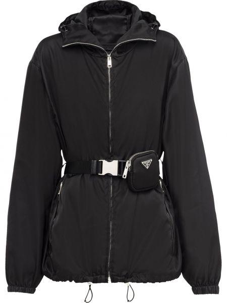 Куртка с капюшоном - черная Prada