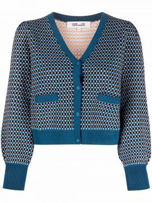 Niebieski sweter z dekoltem w serek Dvf Diane Von Furstenberg