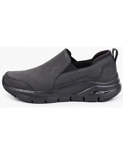 Черные кожаные эспадрильи Skechers