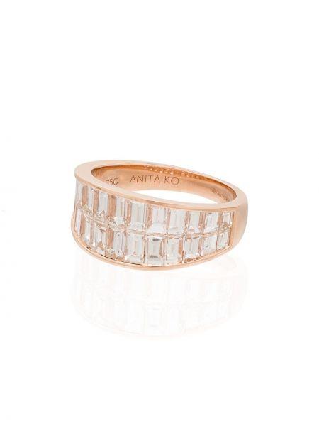 Розовое кольцо с бриллиантом без застежки Anita Ko