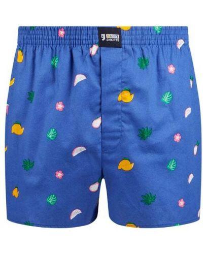 Niebieskie majtki szorty bawełniane zapinane na guziki Happy Shorts