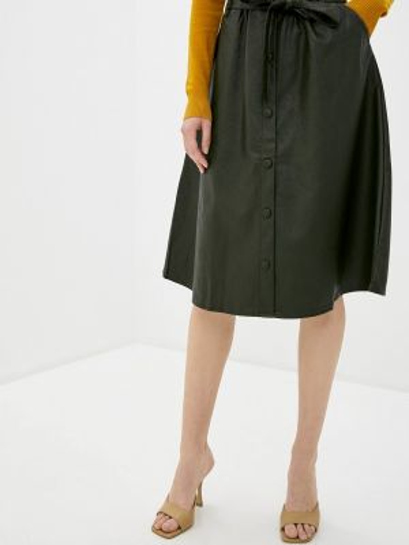 Кожаная юбка весенняя черная Shelter
