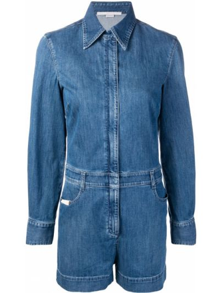 Кожаный с рукавами синий джинсовый комбинезон Stella Mccartney