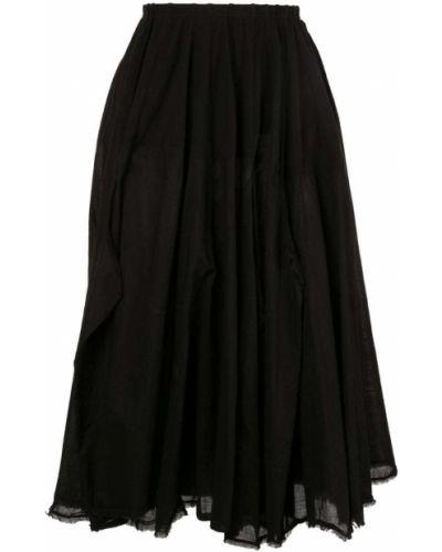 Юбка миди с завышенной талией - черная Rundholz