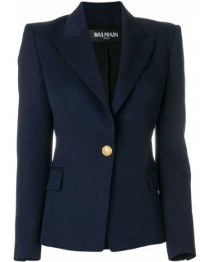 Шерстяной синий классический пиджак на пуговицах с подстежкой Balmain