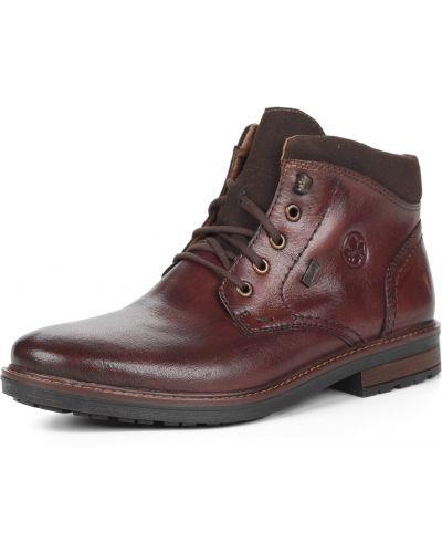 Коричневые кожаные ботинки на шнуровке Rieker