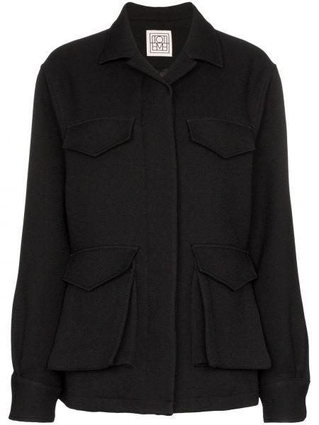 Черный пиджак с карманами с воротником Toteme