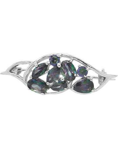 Серебряная брошь с камнями серебряный Evora