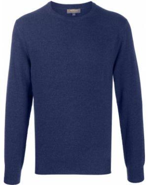 С рукавами кашемировый приталенный синий свитер N.peal