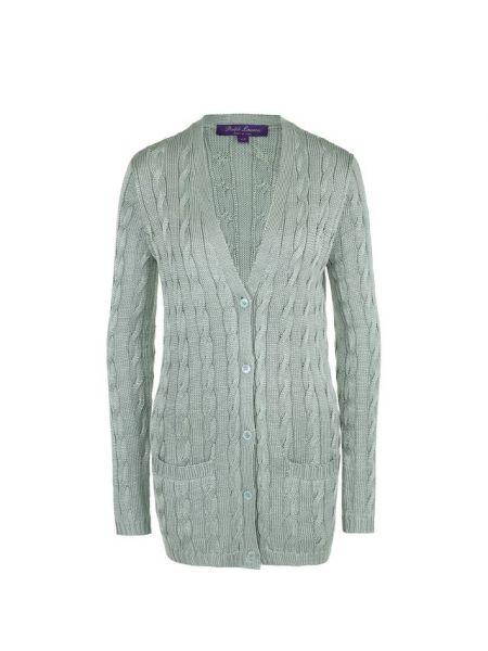 Зеленый шелковый вязаный кардиган с карманами с V-образным вырезом Ralph Lauren