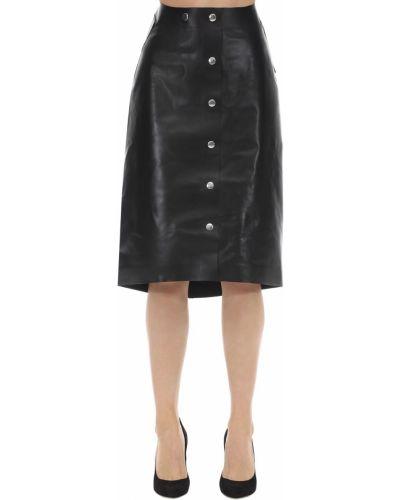 Кожаная юбка с завышенной талией на пуговицах Victoria Beckham