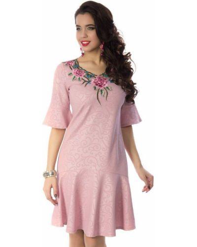 Свободное с рукавами трикотажное вечернее платье Wisell