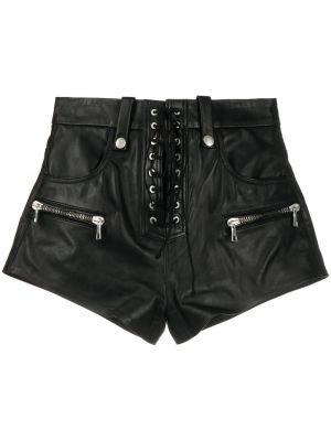 Кожаные черные шорты на шнуровке Unravel Project