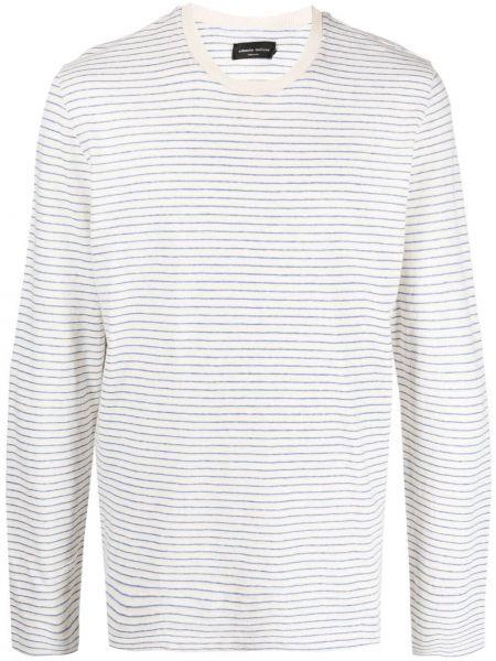 Biały top z długimi rękawami bawełniany Roberto Collina