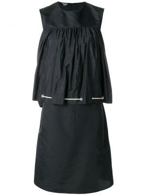 Czarna sukienka z falbanami z jedwabiu Calvin Klein 205w39nyc