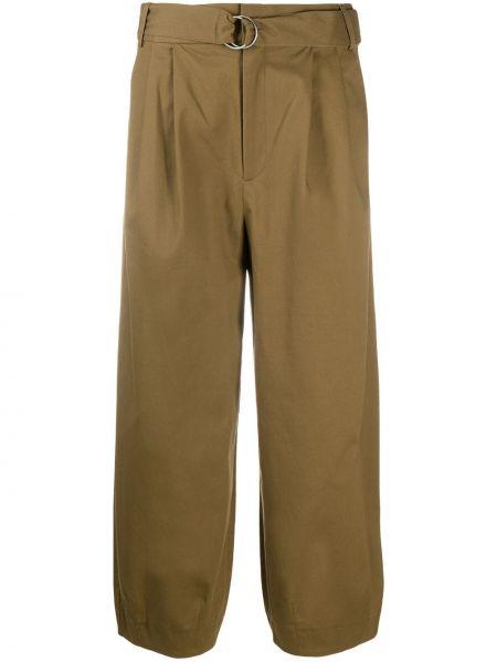 Bawełna spodni zielony przycięte spodnie z kieszeniami Tibi