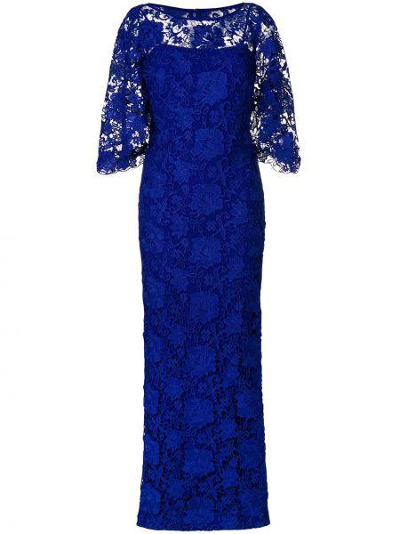 С рукавами ажурное синее вечернее платье Lauren Ralph Lauren