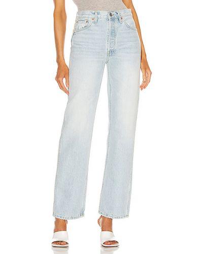 Niebieskie jeansy z wysokim stanem bawełniane Re/done