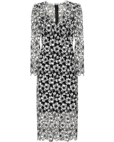 Кружевное платье миди - черное Monique Lhuillier