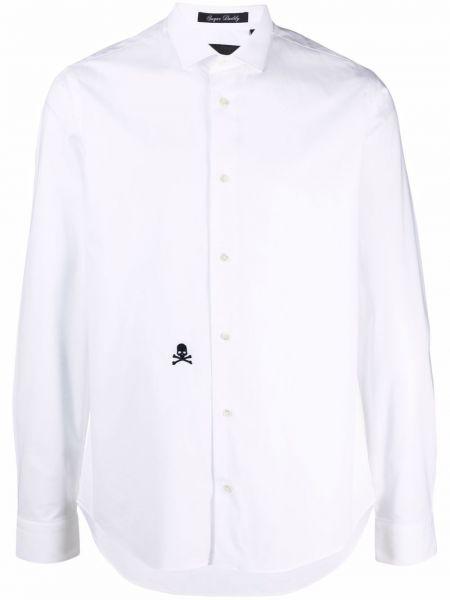 Biała koszula z haftem Philipp Plein