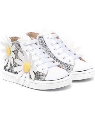 Białe sneakersy srebrne sznurowane Florens