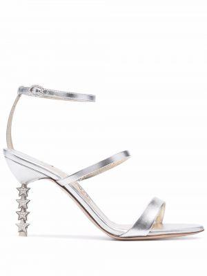 Серебряные кожаные сандалии Sophia Webster