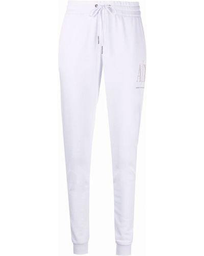 Хлопковые белые спортивные брюки с поясом Armani Exchange
