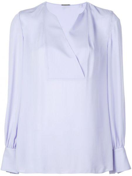 Niebieska bluzka z długimi rękawami kopertowa Elie Tahari