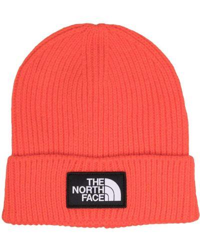 Шапка бини в рубчик - оранжевая The North Face