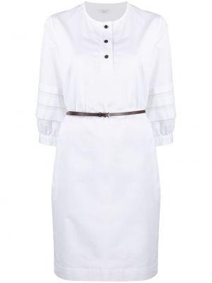 Белое платье-рубашка с поясом с вырезом Peserico