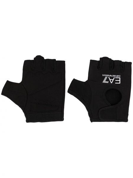 Czarne rękawiczki bez palców z printem Ea7 Emporio Armani