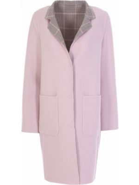 Бежевое пальто с воротником на кнопках двустороннее Manzoni 24
