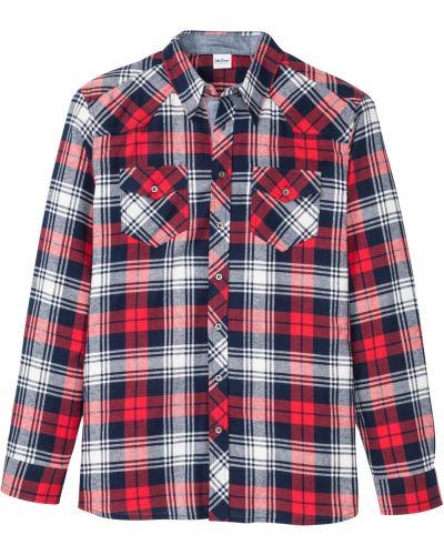 Рубашка с длинным рукавом - синяя Bonprix
