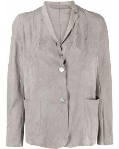 Однобортный серый кожаный удлиненный пиджак Salvatore Santoro