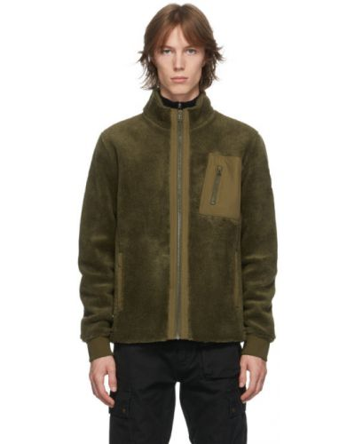 Długa kurtka z mankietami khaki z długimi rękawami z kieszeniami Belstaff