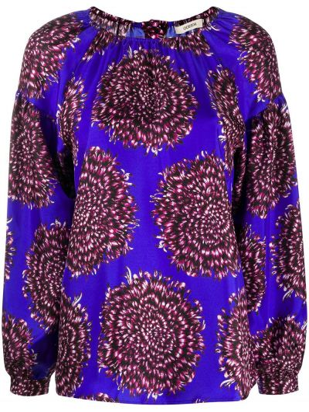 Синяя шелковая блузка на пуговицах с вырезом Odeeh
