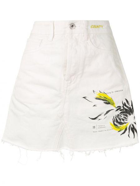Белая классическая джинсовая юбка на молнии с карманами Marcelo Burlon. County Of Milan