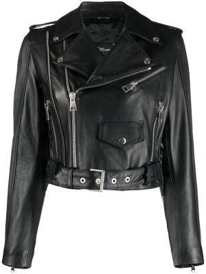 Черная кожаная короткая куртка на молнии Manokhi