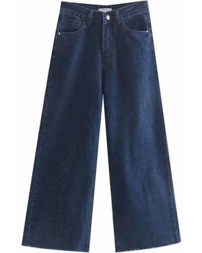 Широкие джинсы с завышенной талией - синие Berni Fashion
