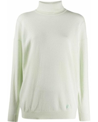 Шерстяной тонкий зеленый свитер в рубчик Burberry Pre-owned