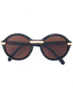 Муслиновые черные солнцезащитные очки круглые винтажные Cartier