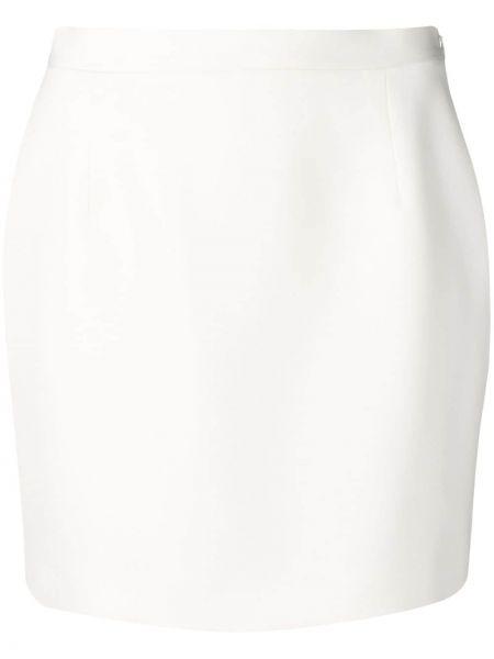 Шерстяная свободная белая юбка мини Alessandra Rich