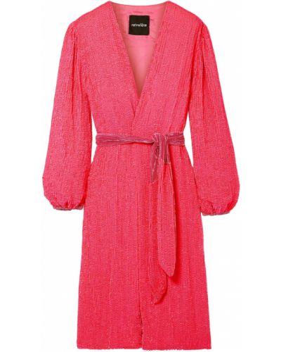 Różowa sukienka kopertowa z cekinami Retrofete